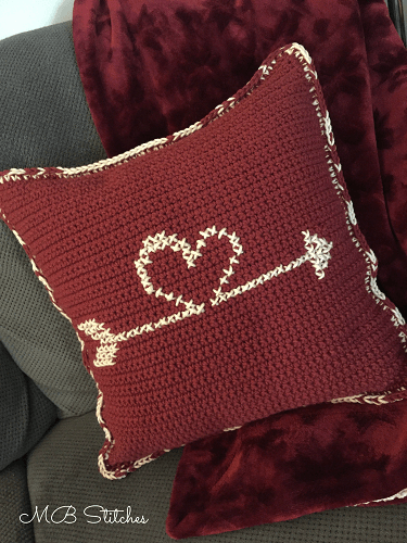 Crochet Reversible Valentine's Heart Pillow Pattern by MB Stitches