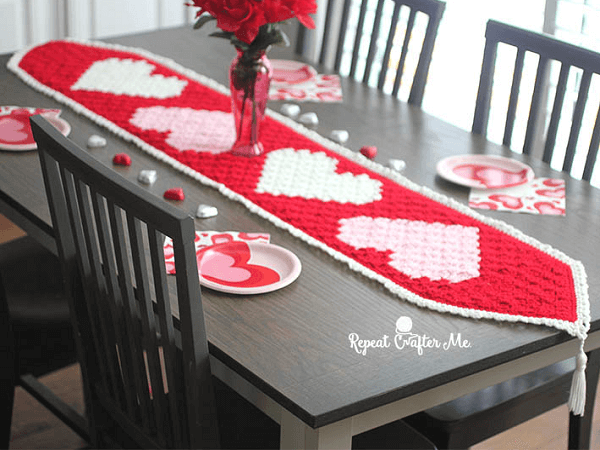 Crochet Valentine's Heart Table Runner Pattern by Repeat Crafter Me