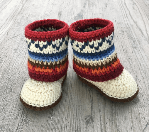 Fair Isle Baby Boots Crochet Pattern by A Frayed Knot Boutique