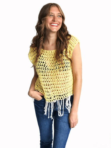 Festival Boho Fringe Crochet Top Pattern by Two Of Wands Shop