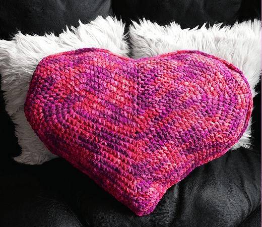 Free Crochet Heart Pillow Pattern by Pattern Paradise