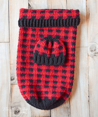 Free Crochet Plaid Baby Cocoon Pattern by Whistle And Ivy