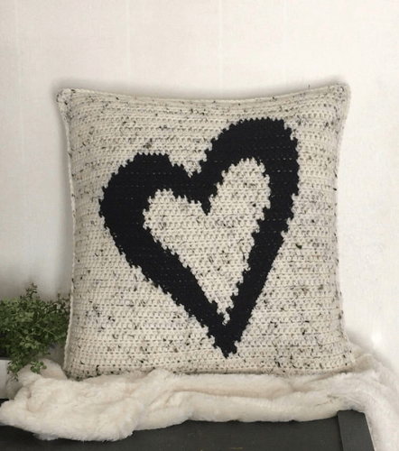Heart Pillow Cover Crochet Pattern by A Frayed Knot Boutique