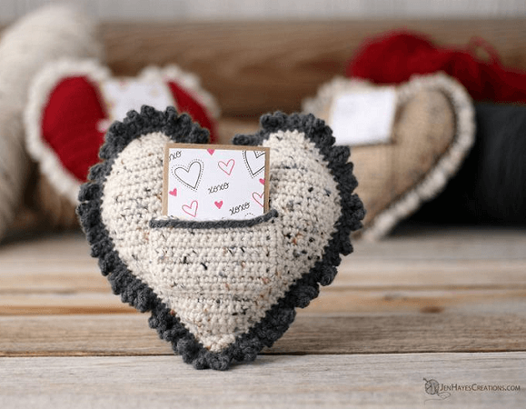 Heart Pillow With Pocket Crochet Pattern by Jen Hayes Creations