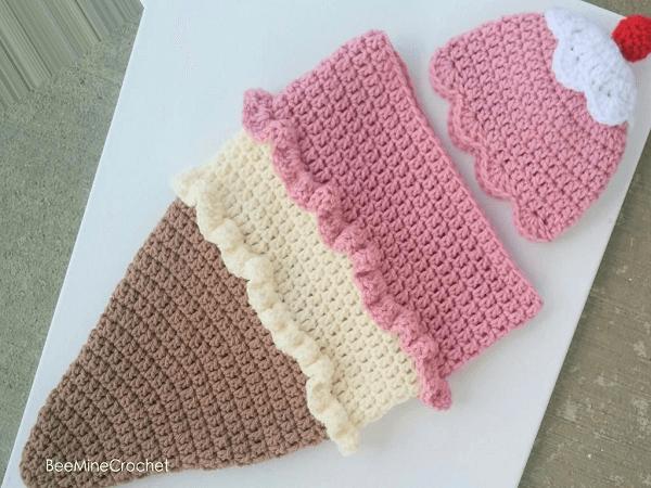 Ice Cream Baby Cone Crochet Pattern by Bee Mine Crochet