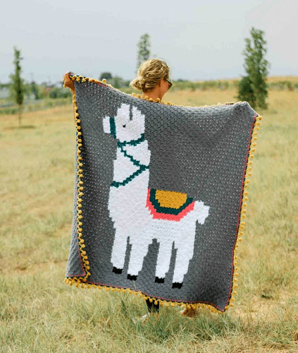 Llama Corner To Corner Crochet Blanket Pattern by Make And Do Crew