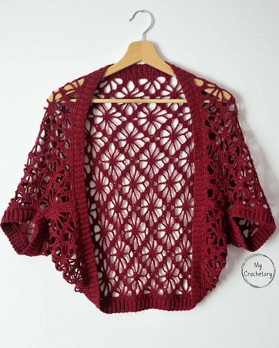Meadow Lace Crochet Shrug Pattern by My Crochetory