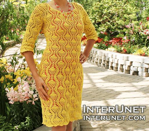 Pineapple Stitch Dress Crochet Pattern by Interunet