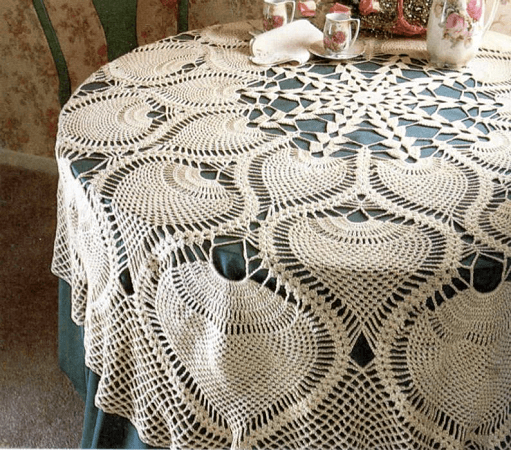 Pineapple Tablecloth Crochet Pattern by Pearl Shore Cat