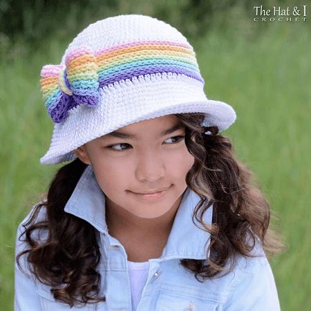 Summer crochet cloche girls rainbow hat Sunhat Women Summer Hats for Kids Newborn Hat crochet flowers Photo shoot Baby Toddler hat