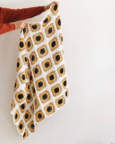 Crochet Sunflower Blanket Pattern by Brenna Ann Handmade