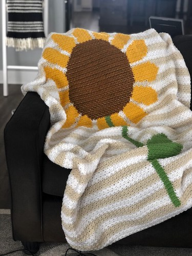 26. Sunflower Crochet Blanket Pattern by Beccie B Creative