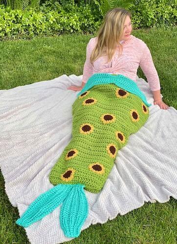 31. Sunflower Mermaid Tail Blanket Crochet Pattern by Crafty Kitty Crochet