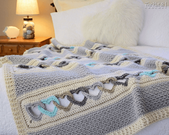 With All My Heart Crochet Blanket Pattern by The Hat And I