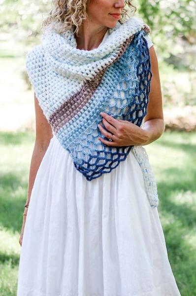 Free Four Season Rising Tide Scarf Crochet Pattern by Jess Coppom