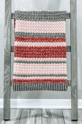 Adah Striped Baby Blanket Crochet Pattern by Hooked On Tilly Life