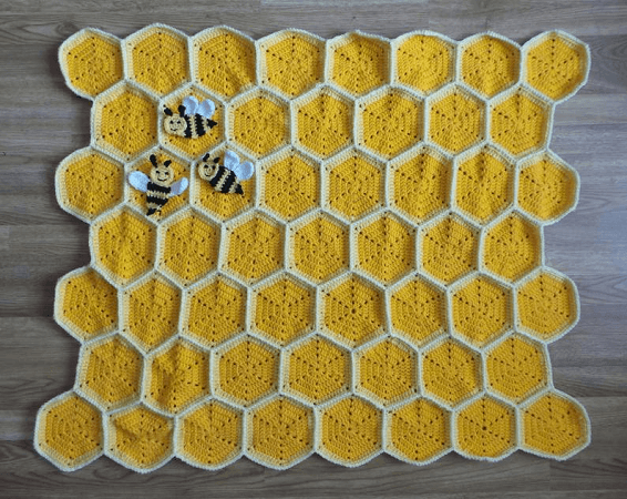 Bee Happy Honeycomb Baby Blanket Crochet Pattern by Crafting Happiness UK