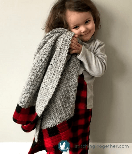 Buffalo Plaid Baby Blanket Crochet Pattern by Stitching Together