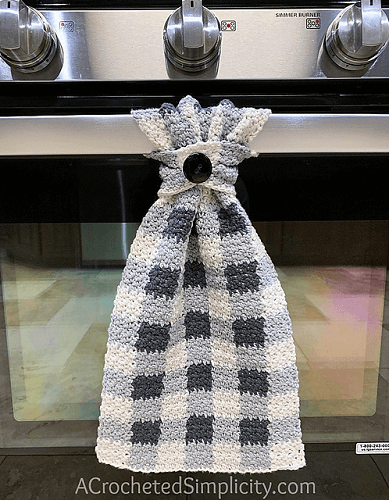Buffalo Plaid Kitchen Towel Crochet Pattern by A Crocheted Simplicity