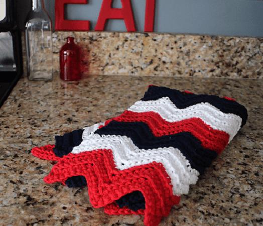 Chevron Crochet Kitchen Towel Pattern by BHooked Crochet