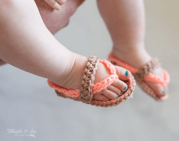 Crochet Baby Strap Flip Flops Pattern by Whistle And Ivy