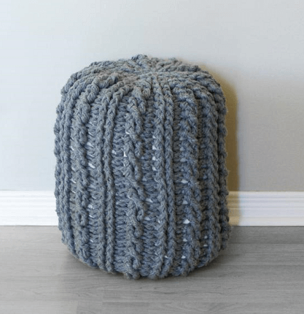 Crochet Cable Footstool Pattern by Midknits