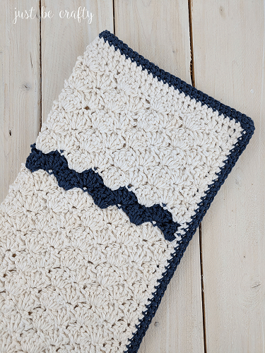 Crochet Farmhouse Dish Towel Pattern by Just Be Crafty