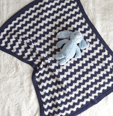 Crochet Nautical Baby Blanket Free Pattern by Annie Design Crochet
