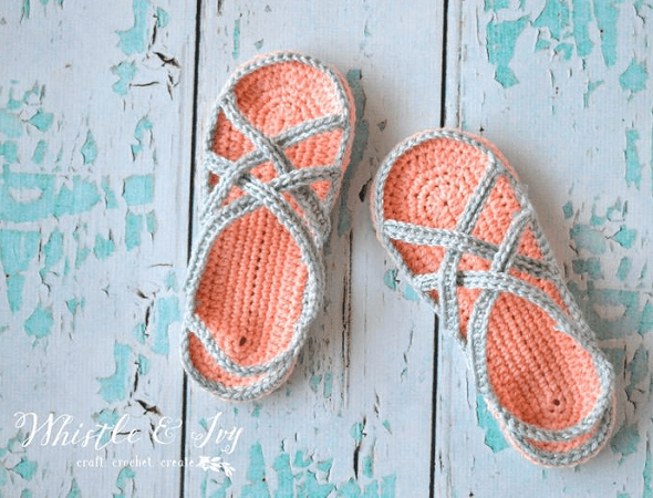 Crochet Strappy Sandals Pattern by Whistle And Ivy