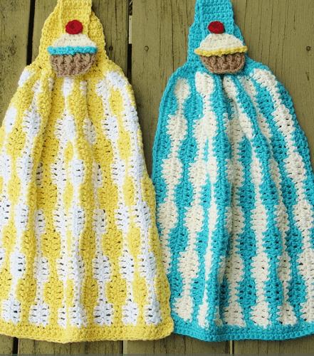 Cup Cake Kitchen Towel Crochet Pattern by Crochet Dreamz