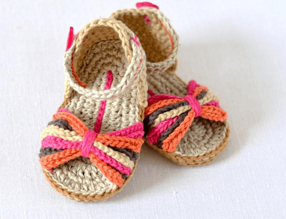 Ethnic Style Baby Sandals Crochet Pattern by Matilda's Meadow