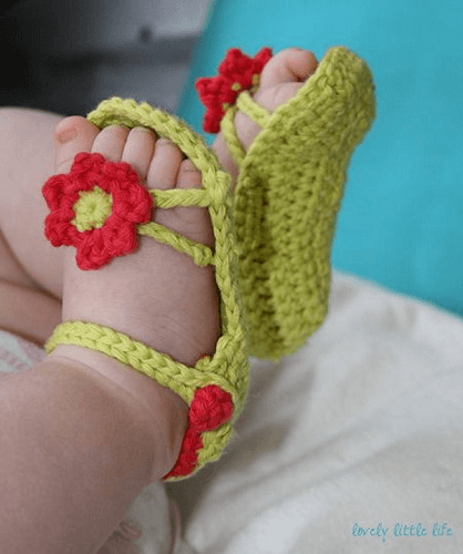 Flower Power Baby Sandals Crochet Pattern by Lovely Little Life
