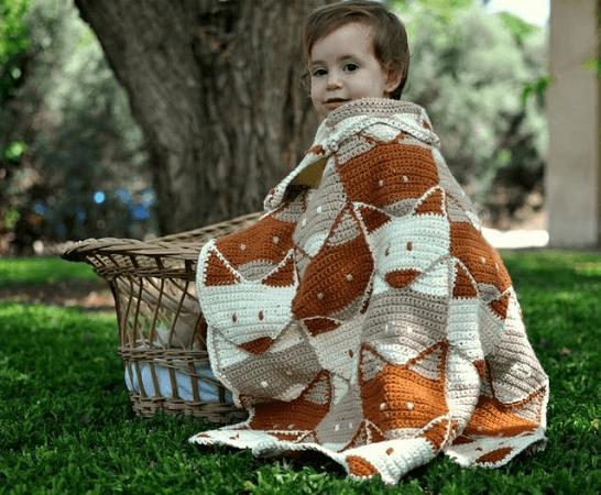 Fox Crochet Baby Blanket Pattern by My Crochet Stories