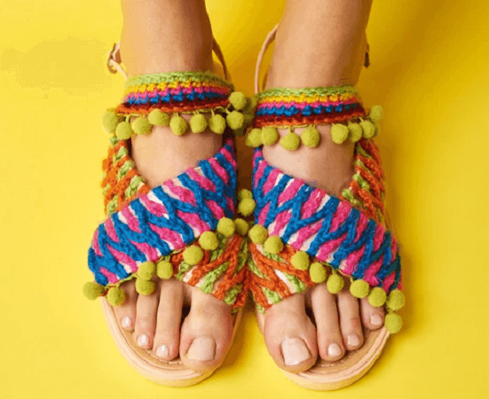 Free Embellished Crochet Sandals Pattern by Gathered