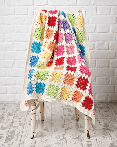Free Granny Square Baby Blanket Crochet Pattern by Gathered