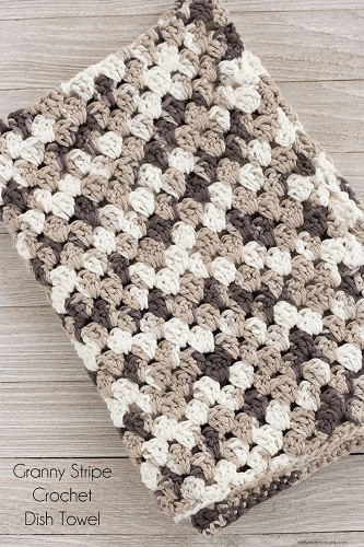 Granny Stripe Crochet Dish Towel Pattern by Midwestern Moms