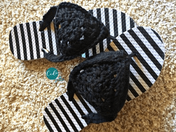 Granny Triangle Crochet Sandals Pattern by Christa Co Design