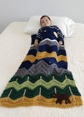 Midnight Mountain Baby Bear Blanket Crochet Pattern by Loopsy Crochet Pattern
