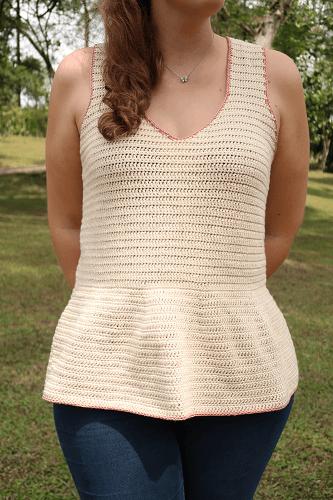 Peplum Summer Top Crochet Pattern by Knitting With Chopsticks