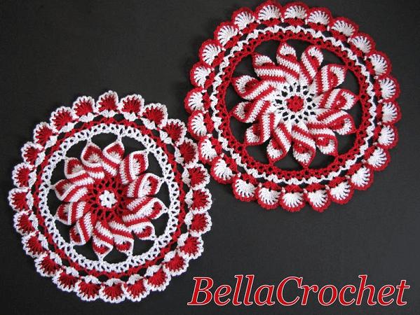 Peppermint Pinwheel Doily Crochet Pattern by Bella Crochet