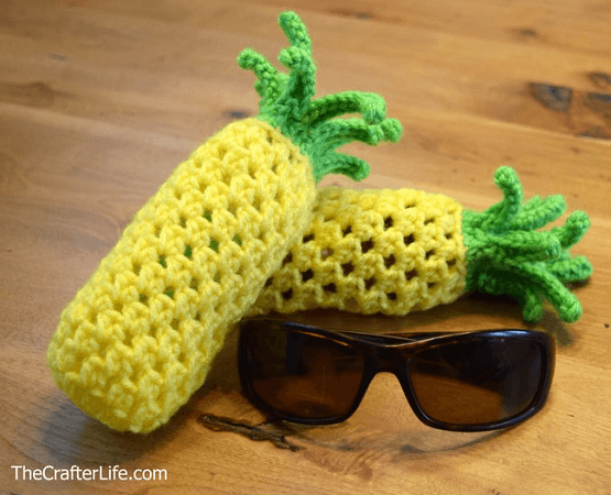 Pineapple Drawstring Sunglass Bag Crochet Pattern by The Crafter Life Shop
