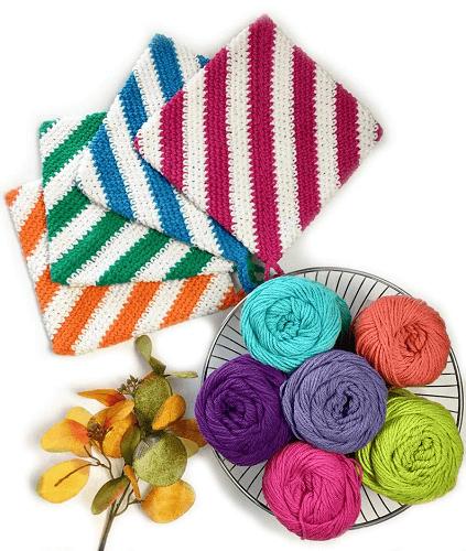 Stripes Hot Pad Crochet Pattern by Pop Crochet AB Designs