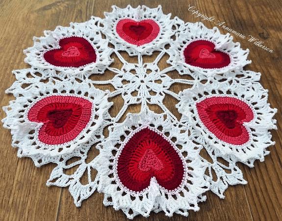Valentine Heart Crochet Doily Pattern by Cat Lady Crochet Shoppe