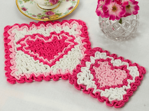Wiggly Crochet Valetine Hot Pad Pattern by The Crochet Architect