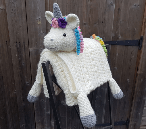 3 In 1 Rainbow Baby Unicorn Blanket Crochet Pattern by Crafting Happiness UK