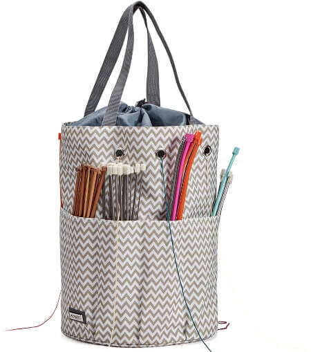 HOMEST XL Yarn Storage Tote Tangle Free with 6 Oversized Grommets Knitting and Crochet Organizer