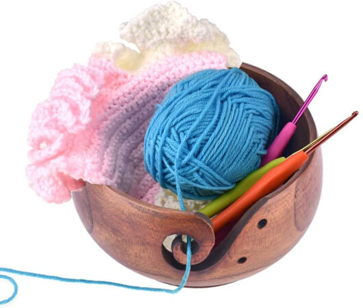 Knitting Wooden Yarn Bowls with Holes