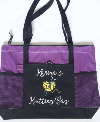 Personalized knitting or crochet tote bag with zipper needlepoint supply bag