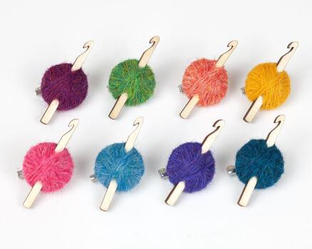 Shetland Wool Crochet Brooch Hook Yarn Crocheters gift