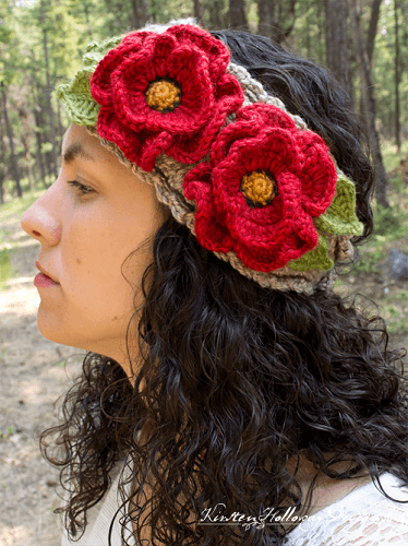Basket Full Of Poppies Crochet Flower Headband Pattern by Kirsten Holloway Designs